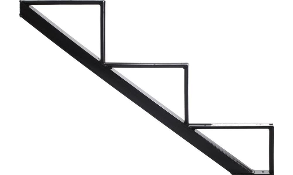 Pylex 3 Steps Steel Stair Stringer Black 7 1 2 In X 10 1 4 In | Steel Stair Stringer Design | Exterior | Free Standing | Indoor | Modern | Staircase Bar Length