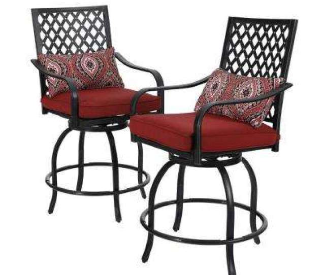 Swivel Metal Balcony Height Outdoor Bar Stool With Red Cushion  Pack