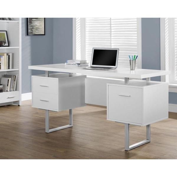 Monarch Specialties White Desk with Drawers I 7081   The Home Depot Monarch Specialties White Desk with Drawers
