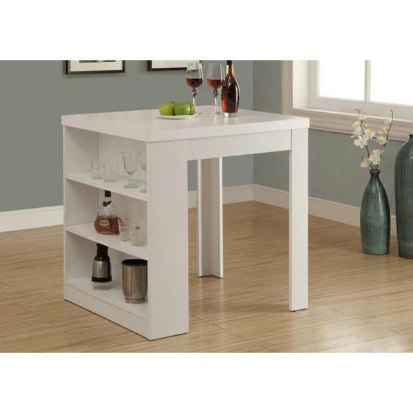 counter height storage dining table Monarch Specialties Counter Height Dining Table White