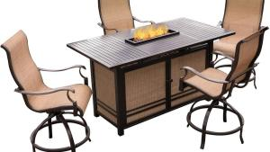 Hanover 5 Piece Aluminum Outdoor High Dining Set With