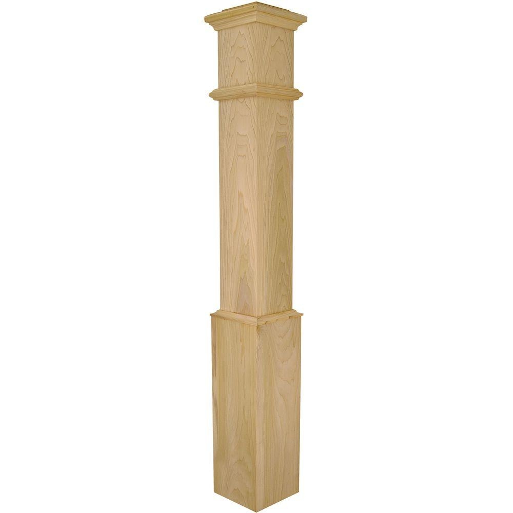 Stair Parts 56 In X 7 1 2 In Poplar Plain Box Newel Post 4095P | Poplar Stair Treads Home Depot | Hardwood | Baluster | Hand Rail | Wood | Risers