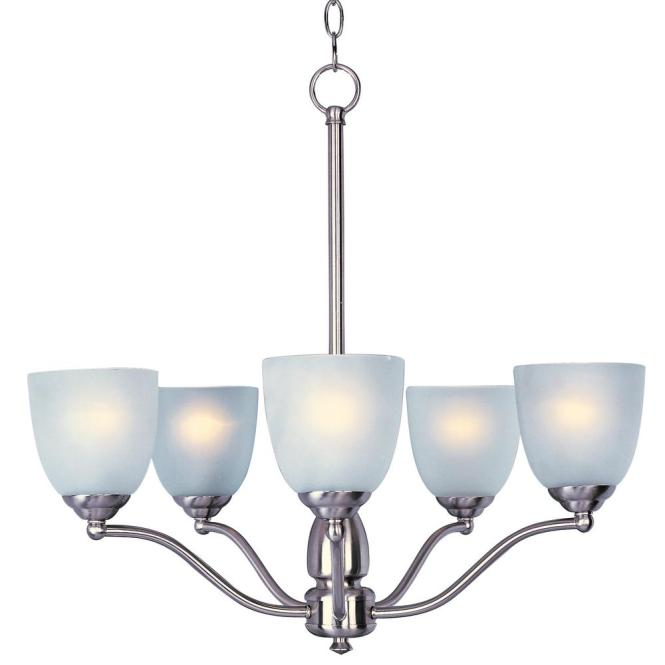 Maxim Lighting Stefan 5 Light Satin Nickel Chandelier With Frosted Shade