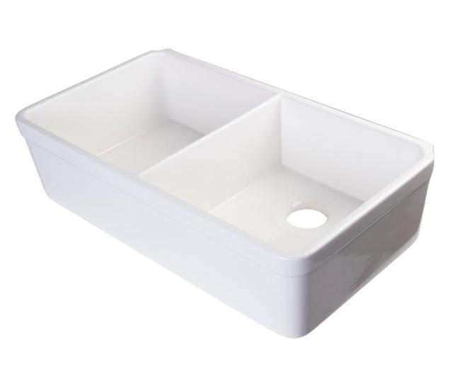 Alfi Brand Decorative Lip Farmhouse Apron Fireclay  In Double Basin Kitchen Sink In White