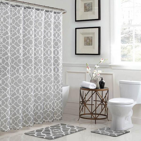 Bath Fusion Elsa Geometric 18 In X 30 In Bath Rug And 72 In X 72 In Shower Curtain 15 Piece Set In Light Gray White Ymb007223 The Home Depot
