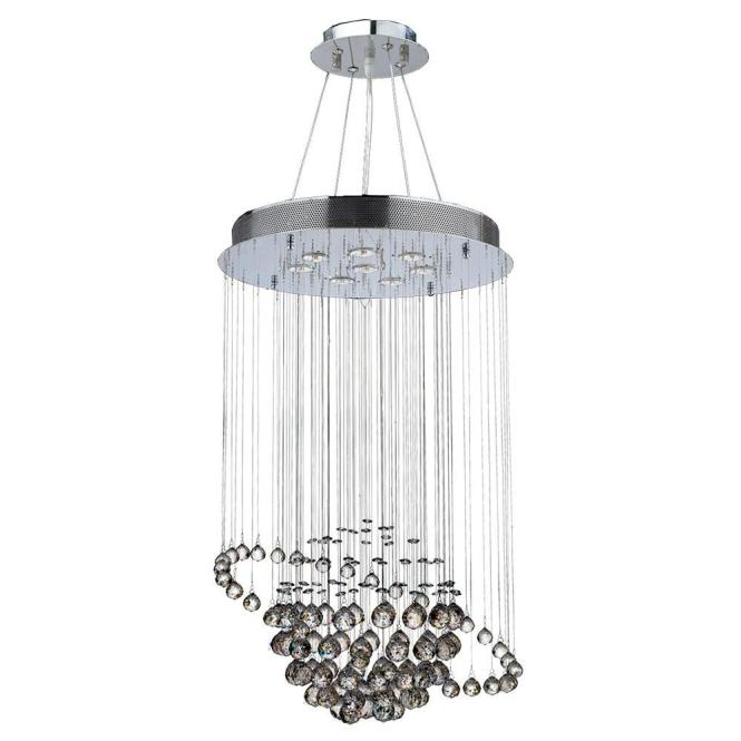 Worldwide Lighting Saturn Collection 8 Light Polished Chrome With Clear Crystal Chandelier