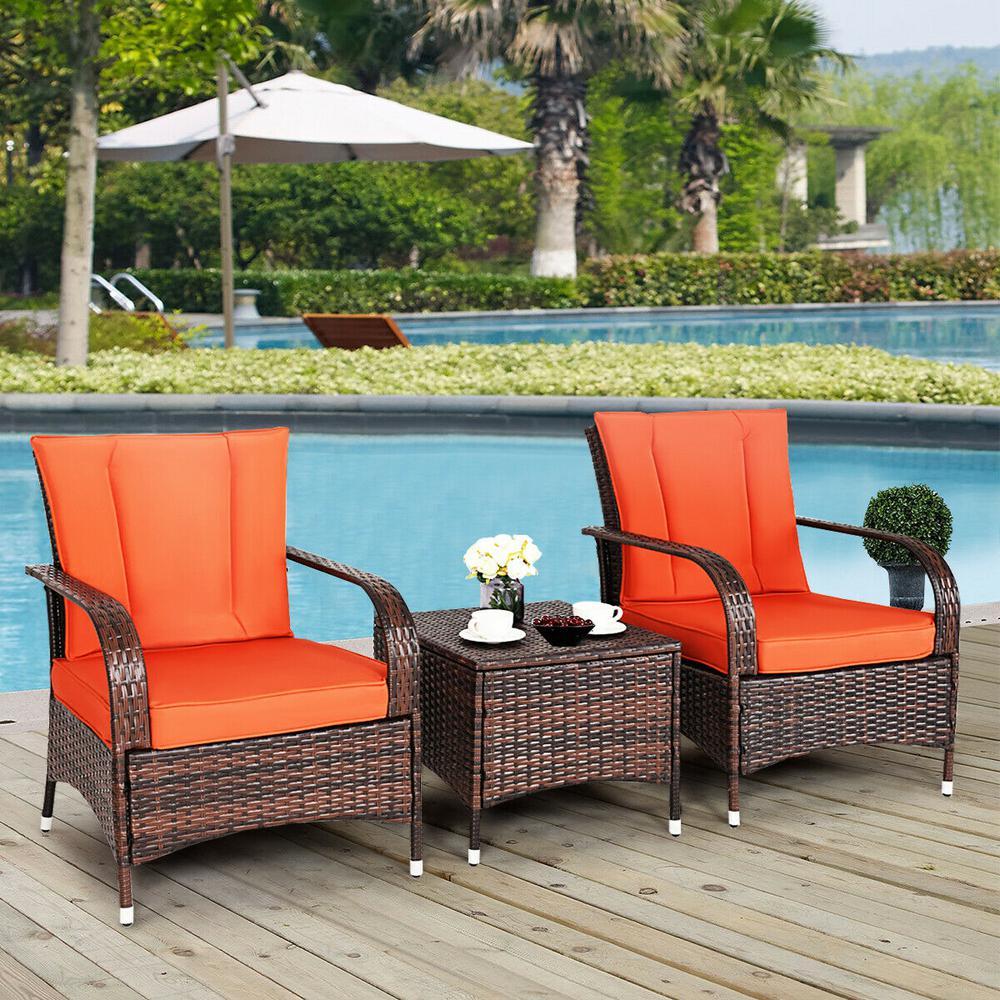 brown 3 pieces patio porch furniture