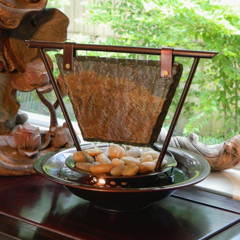 Water Wonders Haiku Moon Tabletop Fountain Solid Slate