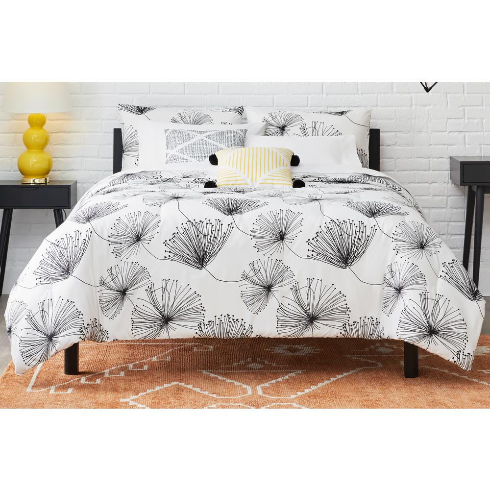 stylewell sweeney 5 piece white black floral full queen comforter set fa94630 fq the home depot