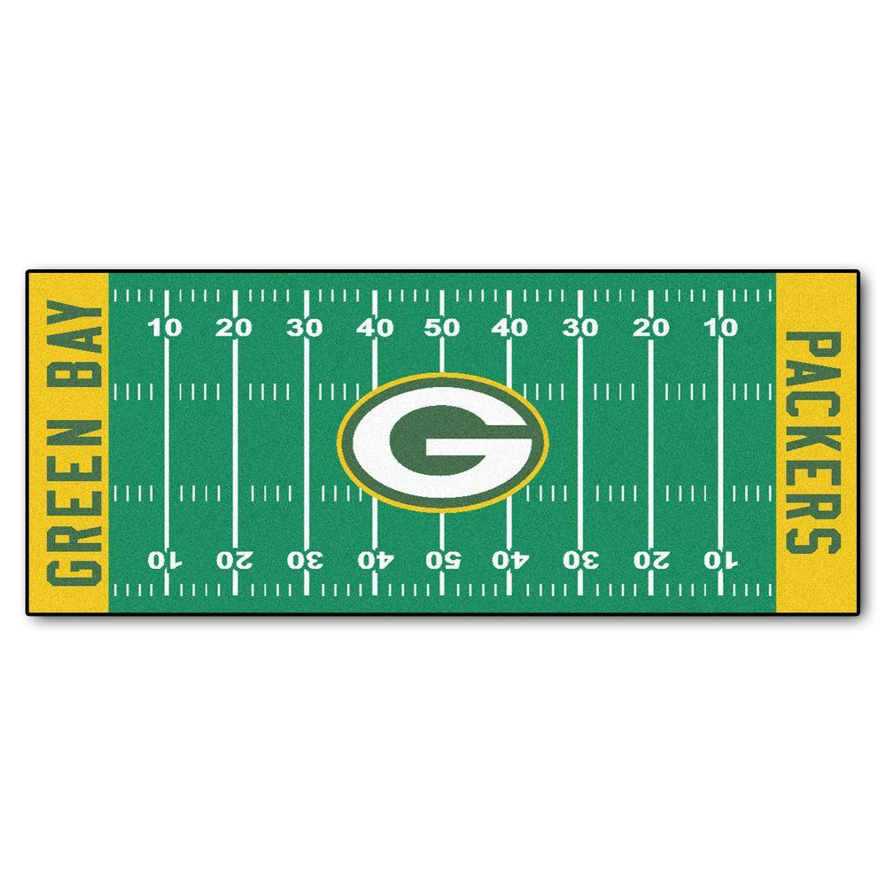 FANMATS Green Bay Packers 3 Ft X 6 Ft Football Field Rug