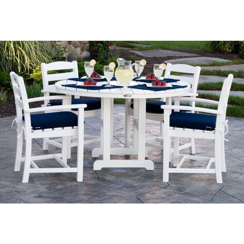 La Casa Cafa White  Piece Plastic Outdoor Patio Dining Set With Sunbrella Navy Cushion