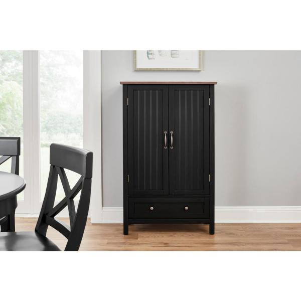 Stylewell Bainport Black With Haze Top Wood Kitchen Pantry With Haze Top 28 In W X 45 In H Sk19238ar1 B The Home Depot
