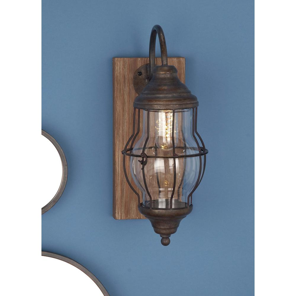 Litton Lane 17 in. Brown Wood and Iron LED Wall Sconce ... on Wood Wall Sconces id=14602