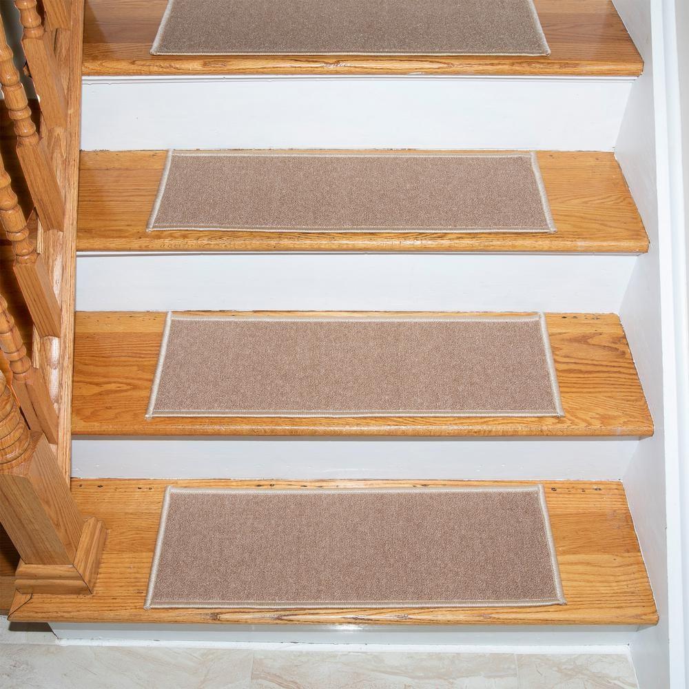 Ottomanson Escalier Collection Beige 8 5 In X 26 6 In Rubber | Ottomanson Safety Stair Treads | Wood | Dark Beige | Beige | Anti Slip | Slip Rubber Stair