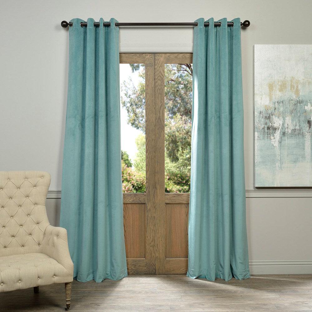 Exclusive Fabrics Amp Furnishings Blackout Signature Aqua Mist Blue Grommet Blackout Velvet
