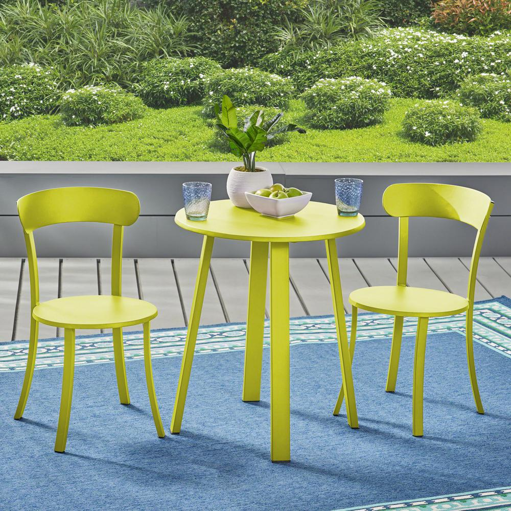 noble house matte lime green 3 metal outdoor Green Bistro Set id=46278