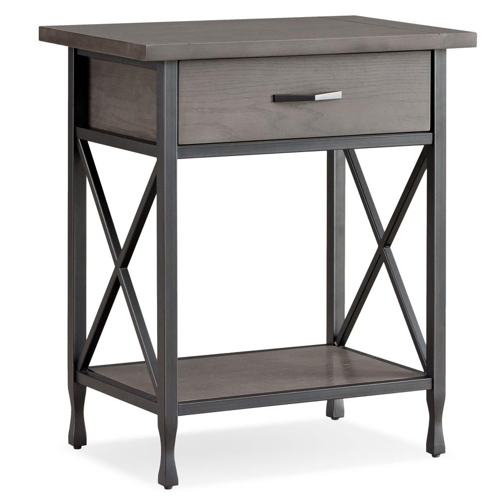 leick home chisel forge wood and metal night stand with drawer 23022 the home depot