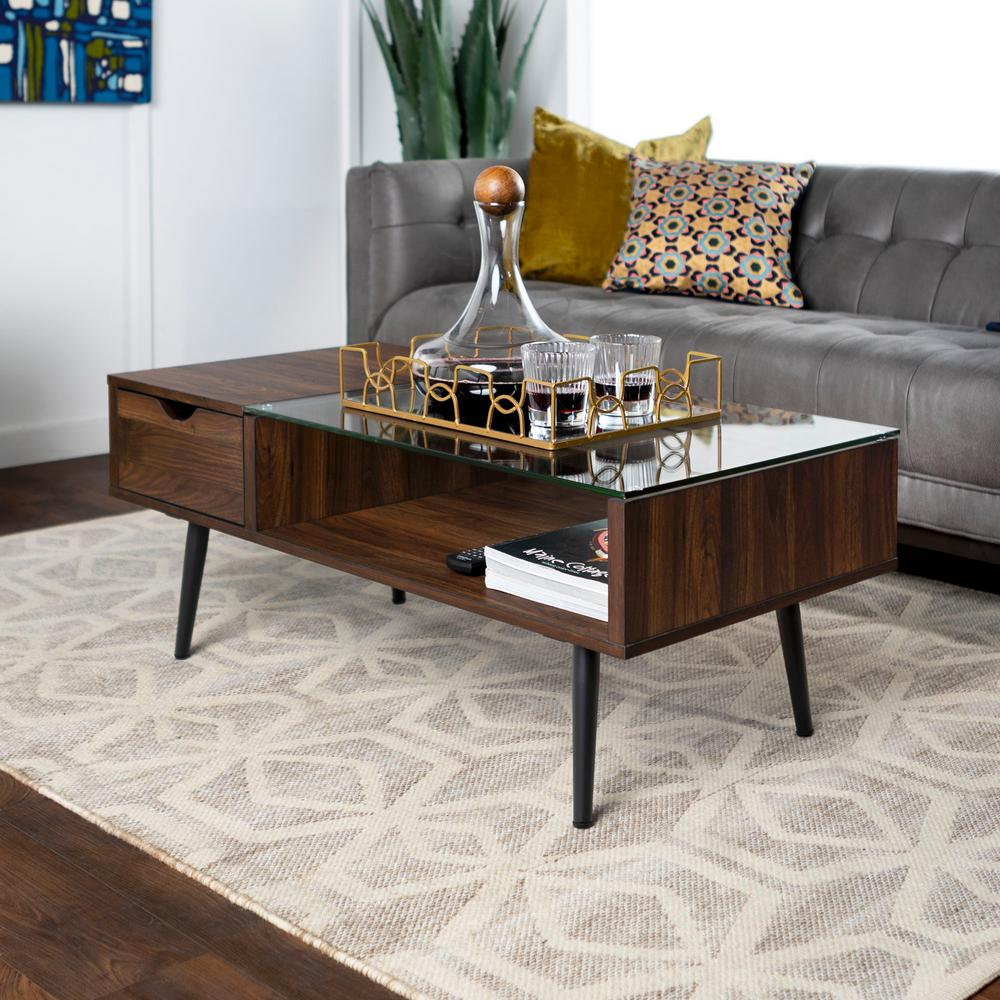 walker edison furniture company mid 42 in dark walnut large rectangle glass coffee table with drawers hdf42jmgldw the home depot