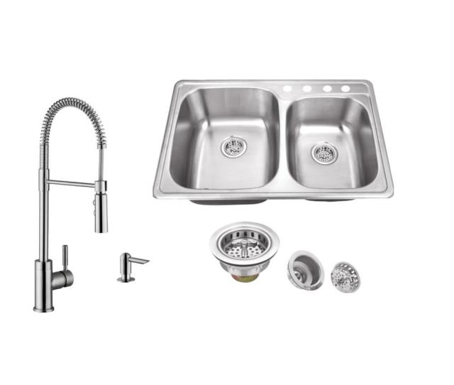 Ipt Sink Company Drop In  Hole Stainless Steel Double Bowl