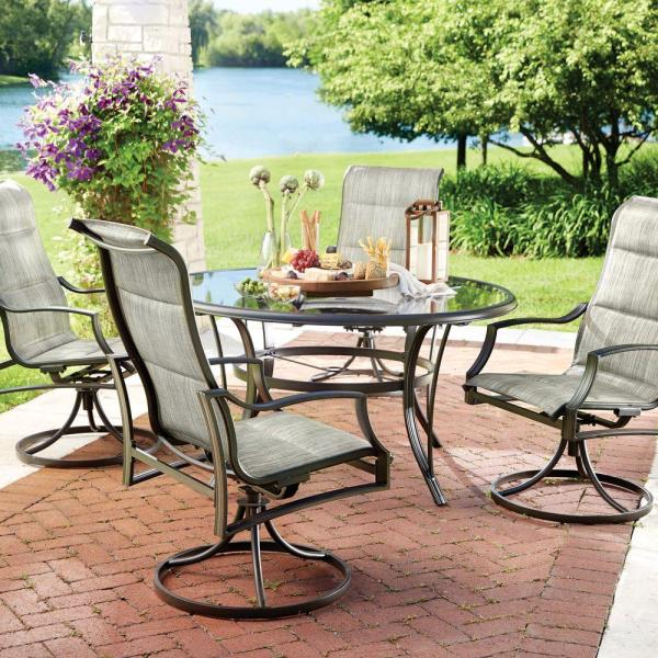 home depot 5 piece patio dining sets Hampton Bay Statesville 5-Piece Padded Sling Patio Dining