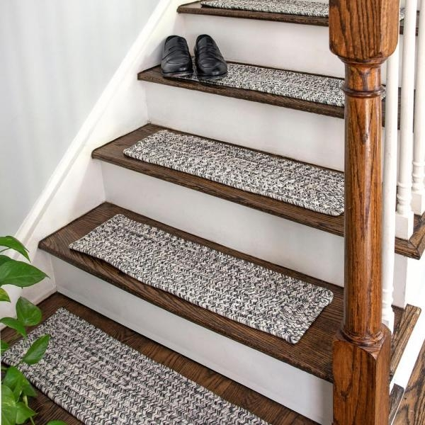 Nuloom Salt And Pepper 8 In X 28 In Oval Stair Treads Braided | Outdoor Stair Treads Home Depot | Anti Slip Stair | Rugs | Non Slip | Tread Covers | Pressure Treated