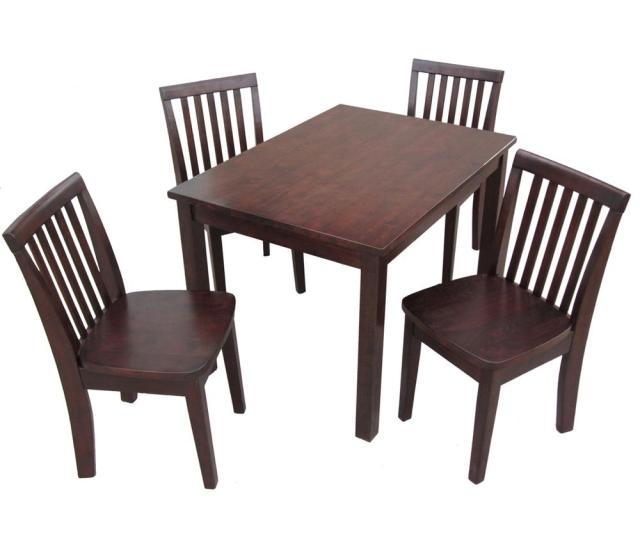 International Concepts 5 Piece Mocha Childrens Table And Chair Set