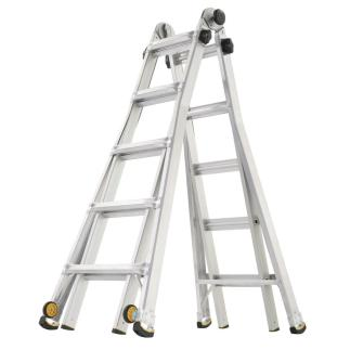 Gorilla Ladders 22 ft. Reach MPX Aluminum Multi-Position Ladder with Wheels with 375 lbs. Load Capacity Type IAA Duty Rating