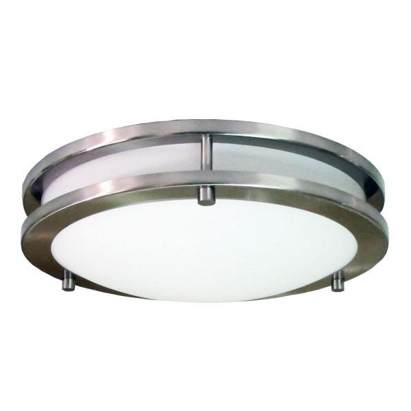 HomeSelects Saturn 2 Light Brushed Nickel Flushmount 6102   The Home     HomeSelects Saturn 2 Light Brushed Nickel Flushmount