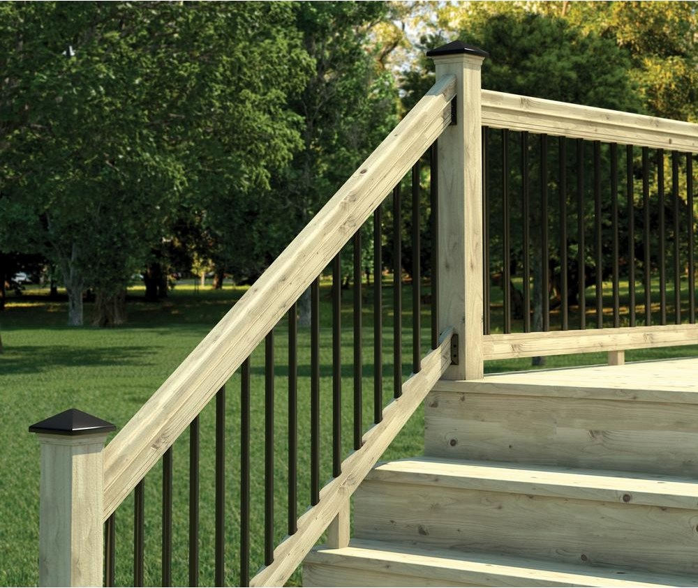 Weathershield 6 Ft Pressure Treated Stair Railing Kit With Black | Outside Stair Railing Installation | 3 Step | Rail | Painted Porch | Sunroom | Door Offset