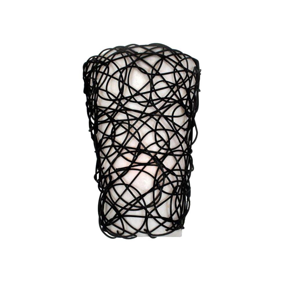 It's Exciting Lighting Wicker Black Indoor Battery ... on Battery Powered Wall Sconces id=37500