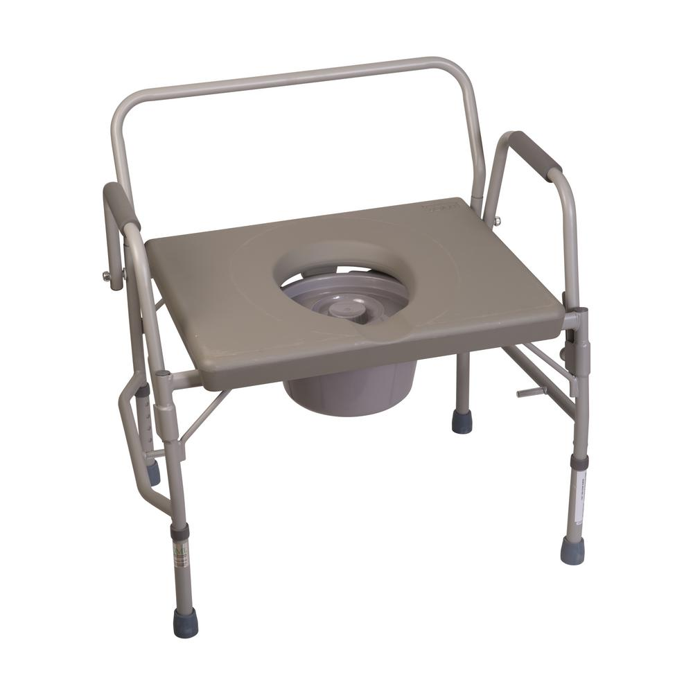 DMI Extra Wide Heavy Duty Drop Arm Commode in Steel 802 1203 0300     DMI Extra Wide Heavy Duty Drop Arm Commode in Steel