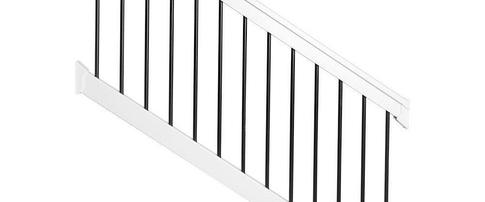 Weatherables Bellaire 3 5 Ft H X 72 In W White Vinyl Stair   Home Depot Stair Handrail   Aluminum Stair   Wood   Balusters   Porch Railings   Oak Stair