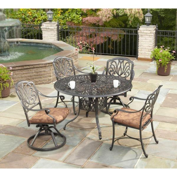 home depot 5 piece patio dining sets Home Styles Floral Blossom 42 in. Round 5-Piece Patio
