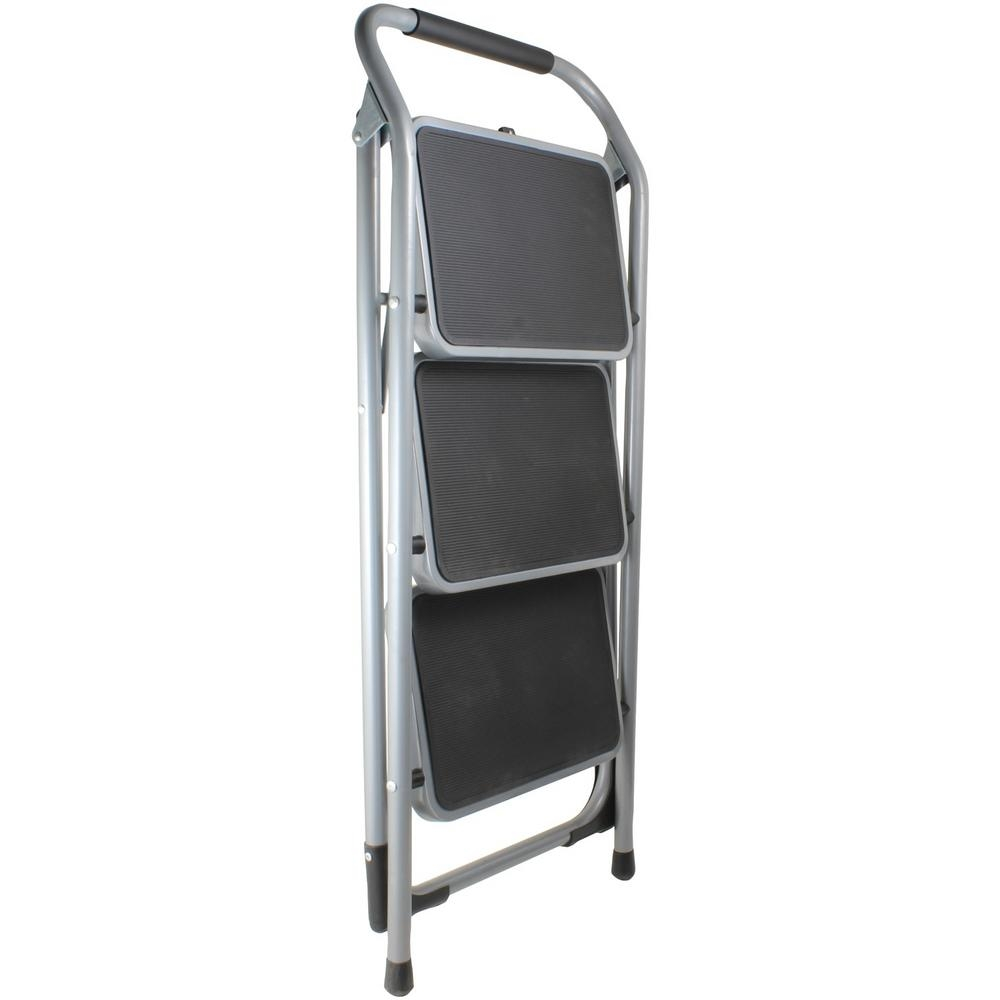 Helping Hand 3 Step Steel Folding Step Stool Fq93000 The Home Depot   Metal Steps Home Depot   Wrought Iron Railings   Flashing   Step Stool   Deck Railing   Stair Treads