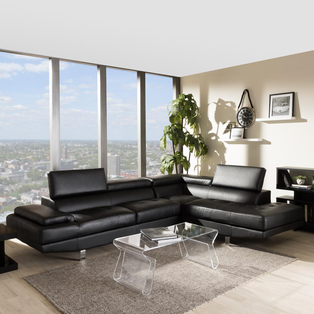 baxton studio selma black faux leather 4 seater l shaped right facing chaise sectional sofa with chrome legs 4535 4536 hd the home depot