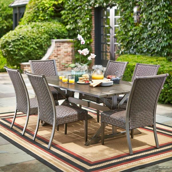 outdoor patio 7 piece dining set Hampton Bay Carleton Place 7-Piece Patio Dining Set-RXHD