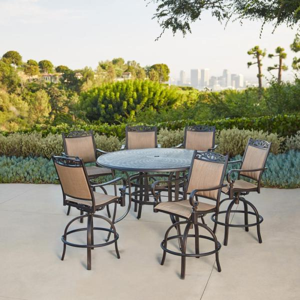 outdoor bar height patio dining sets Royal Garden Tuscan Estate Aluminum Sling 7-Piece Outdoor