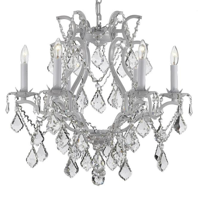 Versailles 6 Light Wrought Iron And Crystal White Plug In Chandelier