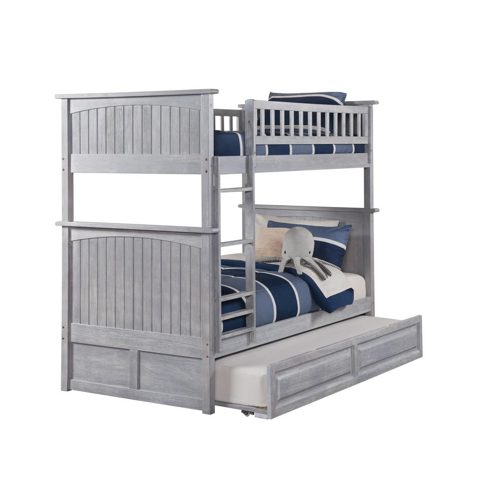 atlantic furniture nantucket bunk bed twin over twin with twin sized raised panel trundle in driftwood ab59138 the home depot
