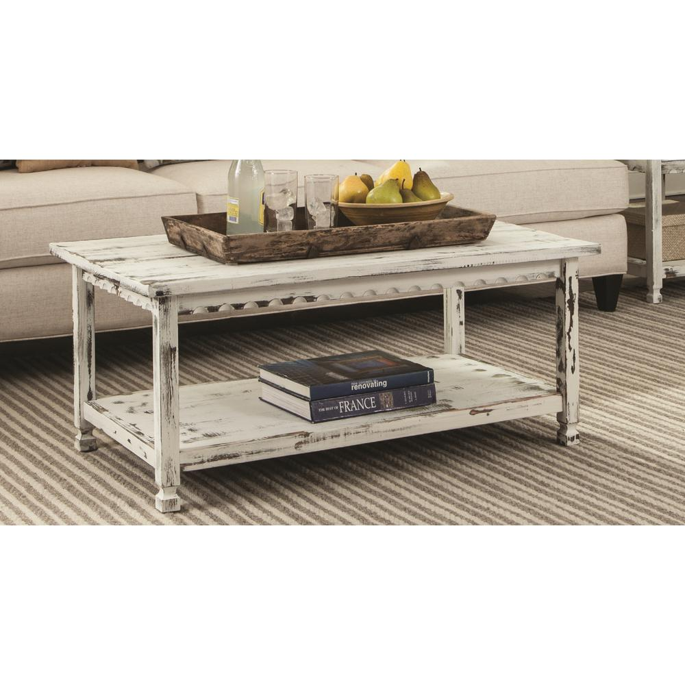 alaterre furniture country cottage 42 in white large rectangle wood coffee table with shelf acca11wa the home depot