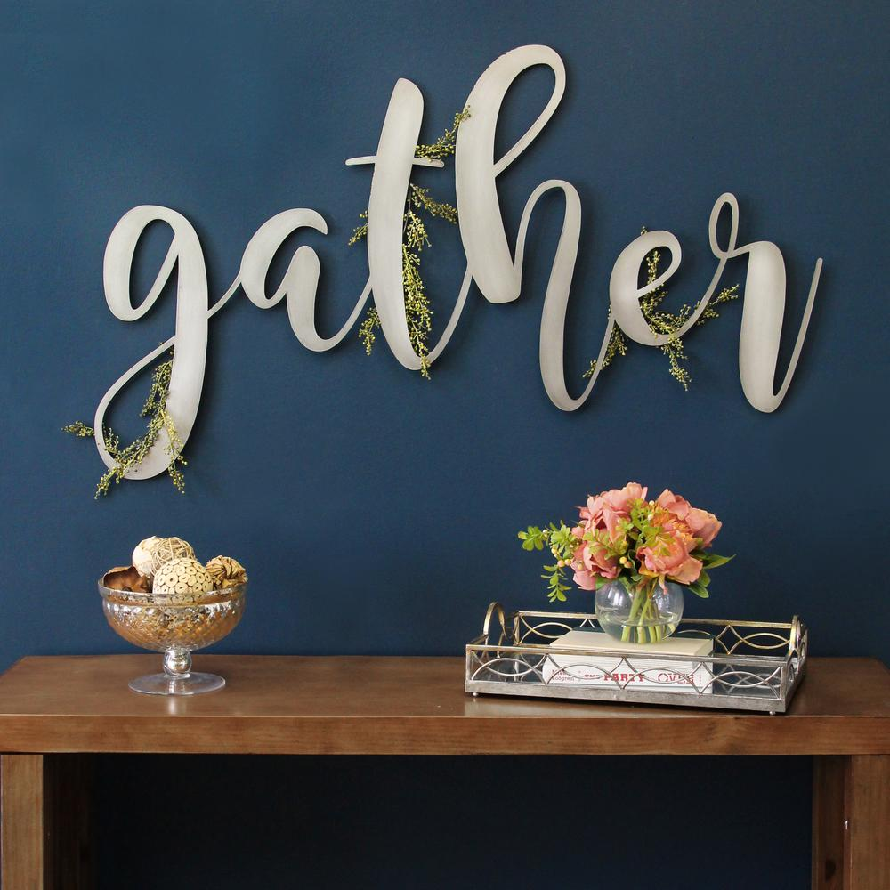 Stratton Home Decor Large Metal Gather Script Sign-S12913 ... on Home Wall Decor Signs id=43737