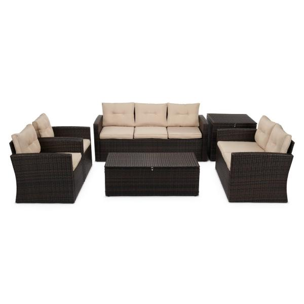 Boyel Living 6-Piece Wicker Outdoor Patio Conversation ... on Outdoor Living Wicker  id=99383