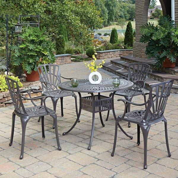 home depot 5 piece patio dining sets Home Styles Largo Taupe 5-Piece All-Weather Patio Dining