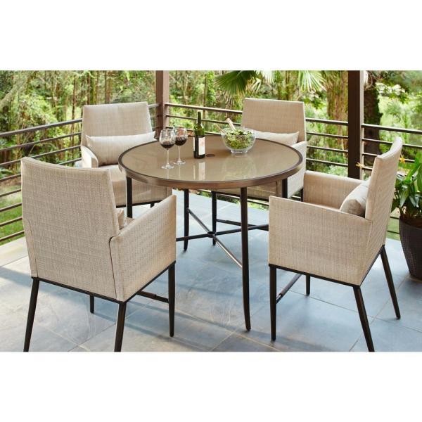home depot 5 piece patio dining sets Hampton Bay Aria 5-Piece Patio High Dining Set-FCS80223ST