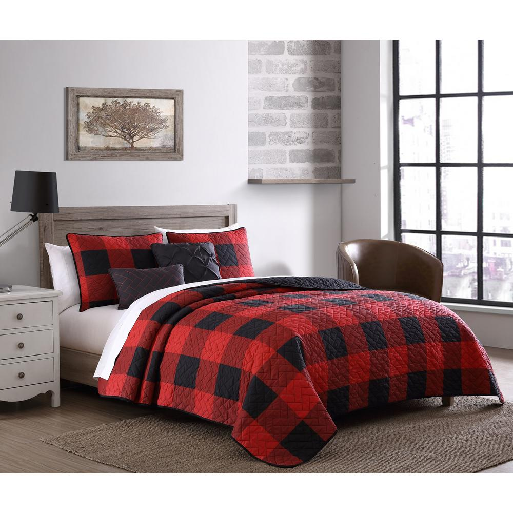 unbranded buffalo plaid 5 piece red and black twin comforter set bfp5bbtwinghrb the home depot