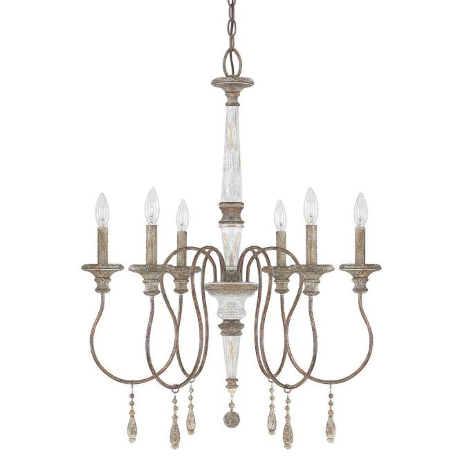6 Light French Antique Chandelier