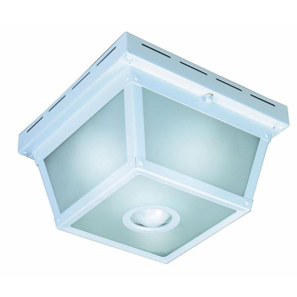 Hampton Bay 360 Degree Square 4 Light White Motion Sensing Outdoor     Hampton Bay 360 Degree Square 4 Light White Motion Sensing Outdoor Flush  Mount