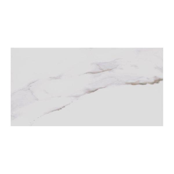 Porcelain Tile   Tile   The Home Depot Developed by Nature Calacatta 12 in  x 24 in  Glazed Porcelain