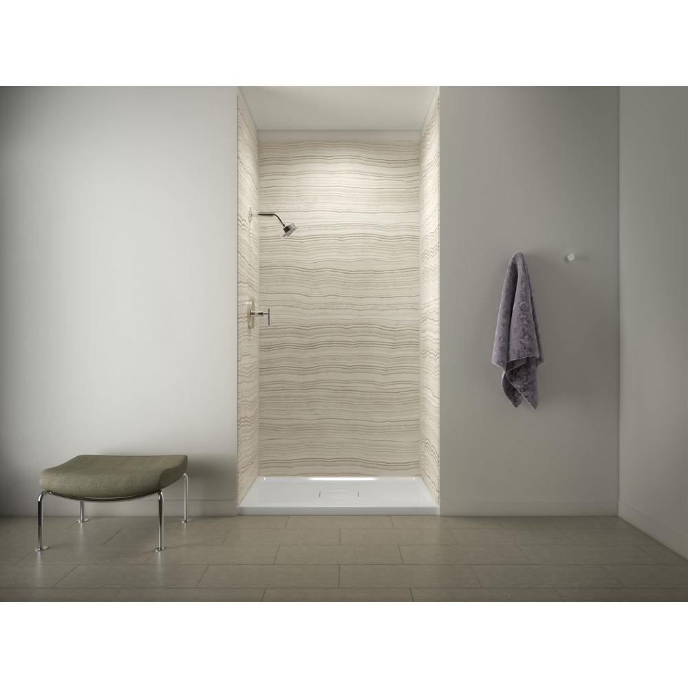 KOHLER Archer Shower Base In White With Choreograph 96 In 5 Piece BathShower Wall Surround In