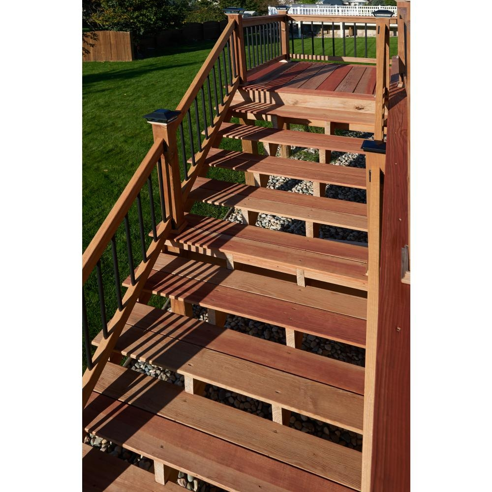 2 Step Pressure Treated Cedar Tone Pine Stair Stringer 215726 | Pre Built Wood Stairs | Exterior | Landing | Free Standing | Lvl | Basement